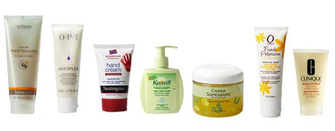 Крем One Step Hand Recovery, Oriflame. Отшелушивающий, разглаживающий и смягчающий крем быстрого действия удаляет ороговевшие клетки кожи, очищает и увлажняет кожу рук. Интенсивный крем для рук и ногтей Avoplex High-Intensity Hand& Nail Cream, O.P.I. Увлажняет, питает и повышает эластичность кожи рук и ногтей, защищает от внешних воздействий. Концентрированный крем для рук без запаха Neutrogena® Norwegian Formula®. Обеспечивает защиту, нтенсивный уход и восстановление даже очень сухой и потрескавшейся коже рук. Лосьон для рук и ногтей Kamill Sensitiv, Kamill Cosmetics. Нежный лосьон с пантенолом защищает руки и ногти. Подходит для частого использования. Лосьон и скраб для рук Creative Scentsations, Creative Nail Design с экстрактом зеленого чая и запахом лимона. Смягчает, увлажняет кожу рук, придает ей сатиновую гладкость. Увлажняющий крем Французская Полинезия из линии для SPA маникюра French Polynesian, Orly. Обеспечивает максимальное увлажнение, смягчает кожу рук. Смягчающий крем для рук и кутикулы Deep Comfort Hand and Cuticle Cream, Clinique. Мягкий на ощупь, густой восстанавливающий крем для рук и кутил моментально насыщает кожу влагой и помогает ей оставаться увлажненной на протяжении 12 часов.