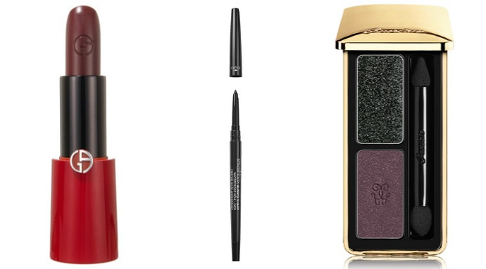 Помада Giorgio Armani Rouge Ecstasy, оттенок Night Viper, карандаш Always Sharp Waterproof Kôhl Liner, оттенок Raven, тени Guerlain L'Ecrin 2 Couleurs, оттенок Cygne Noir