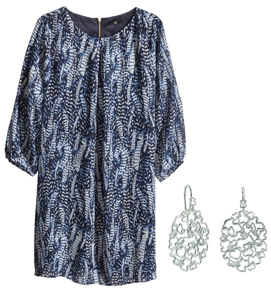 Платье H&M, серьги Tous
