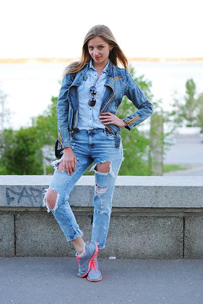 denim total look, уличная мода