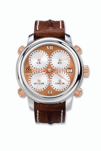 «Часы Jacob & Co. H24 Five Time Zone Timepiece — для тех, кто живет между Москвой, Лондоном, Нью-Йорком и Лос-Анджелесом: не надо переводить время».