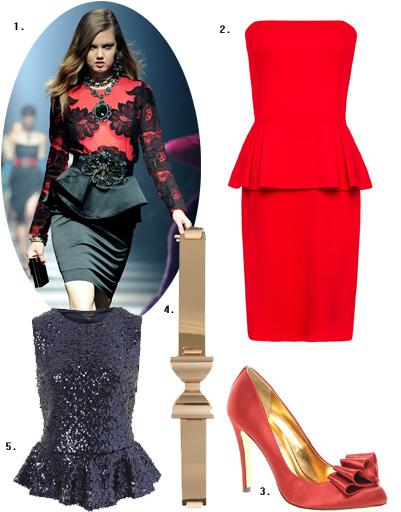 1. Lanvin; 2. платье Mango; 3. туфли Ted Baker; 4. металлический пояс Asos; 5. топ Topshop