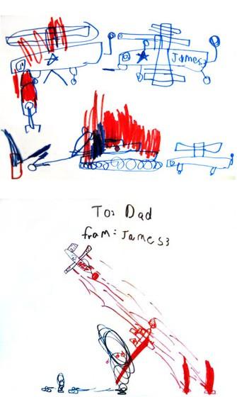 Рисунки мальчика, которые он подписал «Джеймс-3». В списке пилотов, погибших 3 марта 1945 года, его отец обнаружил имя Джеймс Хьюстон-Младший (Джеймс-2).