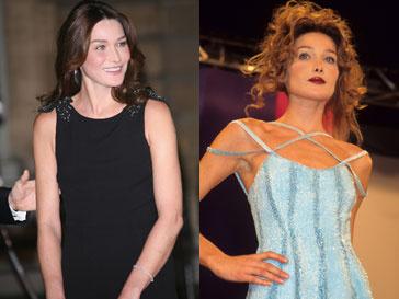 Карла Бруни (Carla Bruni) в 2009 году и в 1995 году во время модного показа