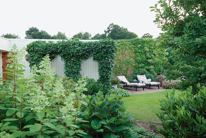У самого дома расположены низкие растения, дальше — более высокие. В саду устроено несколько уютных мест для отдыха.