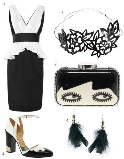 1. Платье Notte by Marchesa; 2. ободок Stern; 3. Клатч Lulu Guinness; 4. серьги Pieces; 5. туфли Toga Pulla
