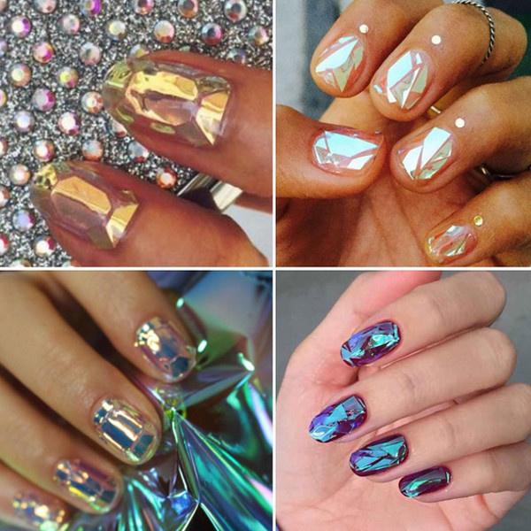 Разбитое стекло на ногтях #glassnails