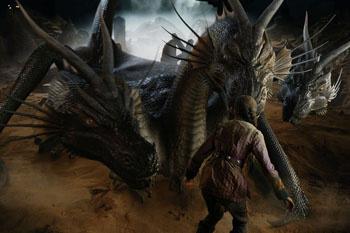 ...и превращаться в разных чудовищ, например, в трехголового дракона