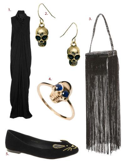 1. Платье Rick Owens; 2. серьги Pieces; 3. сумка Topshop; 4. кольцо Zoe & Morgan; 5. туфли Asos