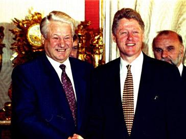 Борис Ельцин на встреле с президентом США Биллом Клинтоном