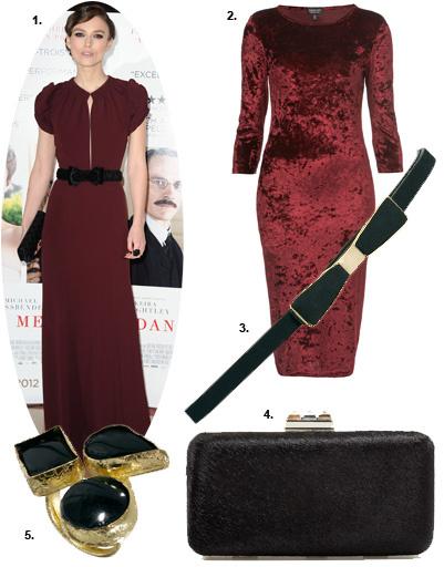 1. Кира Найтли (Keira Knightley); 2. платье Topshop; 3. ремень Asos; 4. клатч Zara; 5. кольцо Pieces