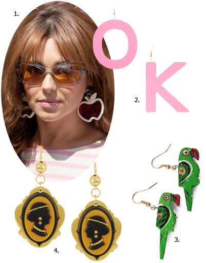 1. Шерил Коул (Cheryl Cole); 2. серьги Asos; 3. серьги Nice Things; 4. серьги Miu Miu