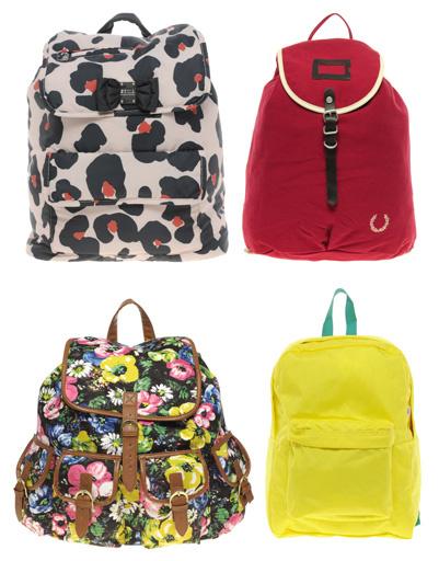 Рюкзак с леопардовым принтом Sonia By Sonia Rykiel, красный рюкзак Fred Perry, желтый рюкзак American Appare, рюкзак с цветочным принтом Asos