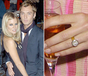 Сиенна Миллер и Джуд Лоу - одна из самых красивых пар, к сожалению, уже в прошлом. Кольцо актрисы выглядит как один огромный бриллиант, но это не так. Джуд подарил Сиенне золотое кольцо увенчанное множеством маленьких бриллиантов.