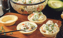 Оливье в корзиночках с авокадо
