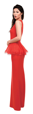 Платье Lilas by Ekaterina Kormich, босоножки Gucci
