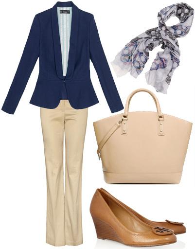 Жакет Zara, брюки Mango, туфли Tory Burch, сумка Zara, шарф Zara