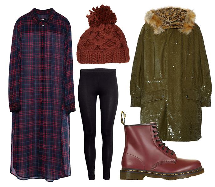 Выбор ELLE: парка Ashish, ботинки Dr. Martens, шапка TopShop, леггинсы H&M