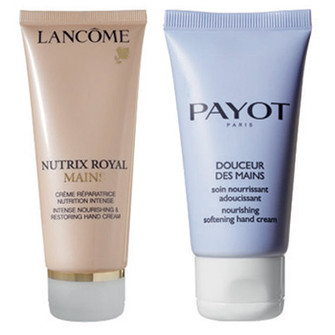 Lancôme Крем для интенсивного питания и восстановления кожи рук Nutrix Royal Mains; Payot Крем для питания и смягчения кожи рук Douceur des Mains.