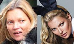 На звезду без грима не смотреть: Кейт Мосс до съемок и после