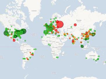 Москва отмечена на карте ученых красным цветом