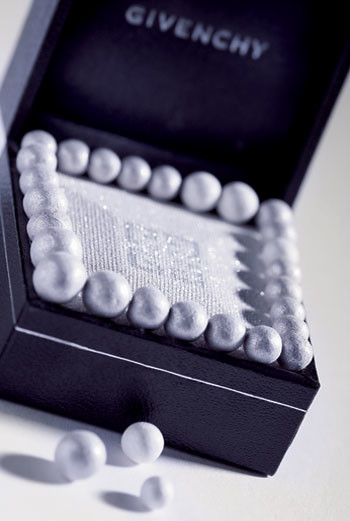 Мерцающая пудра для лица, век и декольте Prisme Solitaire, Givenchy, в обрамлении серебряных жемчужин из пудры Gold Temptation, Météorites, Guerlain
