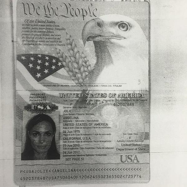 фото Анджелины Джоли в паспорте