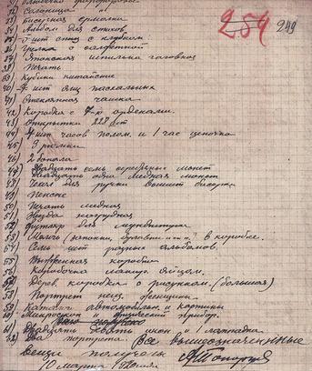 Опись вещей, изъятых при аресте у А. В. Колчака