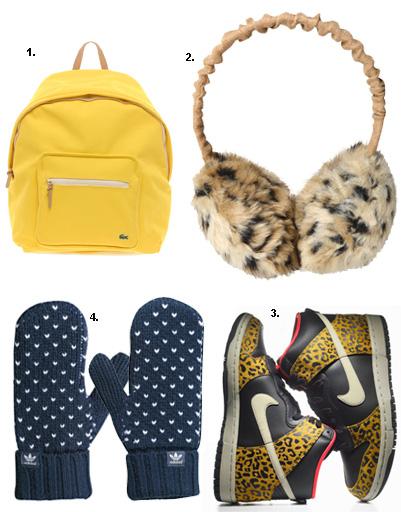 1. Рюкзак Lacoste; 2. наушники Kira Plastinina; 3. кроссовки Nike; 2. варежки adidas Sport Style