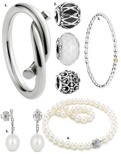 1. Кольцо Cartier; 2. шармы Pandora; 3. браслет Pandora; 4. ожерелье Tiffany & Co; серьги Tous