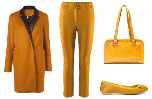 Слева направо: пальто TopShop, брюки H&M, сумка Zara, балетки Zara