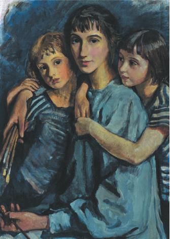 «Автопортрет с детьми», 1921. Рыбинский историко-художественный музей.