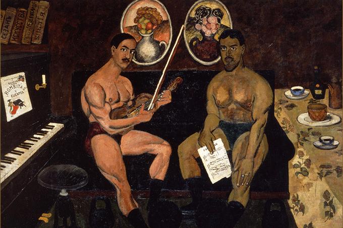 Илья Машков. Автопортрет и портрет Петра Кончаловского», 1910
