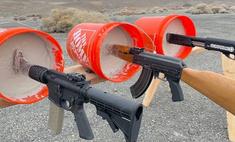 Эксперимент: АК-47, винтовку и дробовик замуровали стволами в бетон и попытались выстрелить из них (видео)