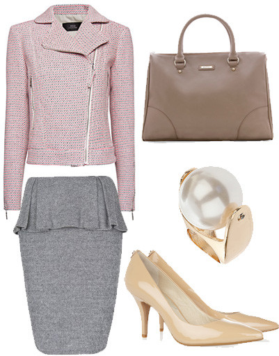 Жакет и юбка Mango, туфли MICHAEL Michael Kors, кольцо Topshop, сумка Mango