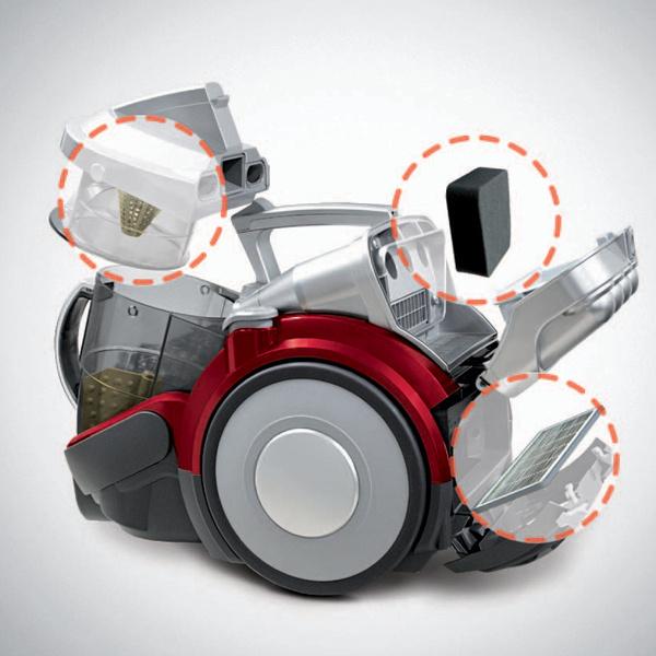 Конструктивная схема пылесоса Steam Kompressor (LG Electronics): 1. контейнер для пыли; 2, 3.  фильтры.