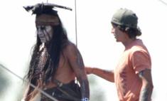 Индеец Джонни Депп: кадры со съемок фильма «Одинокий рейнджер»
