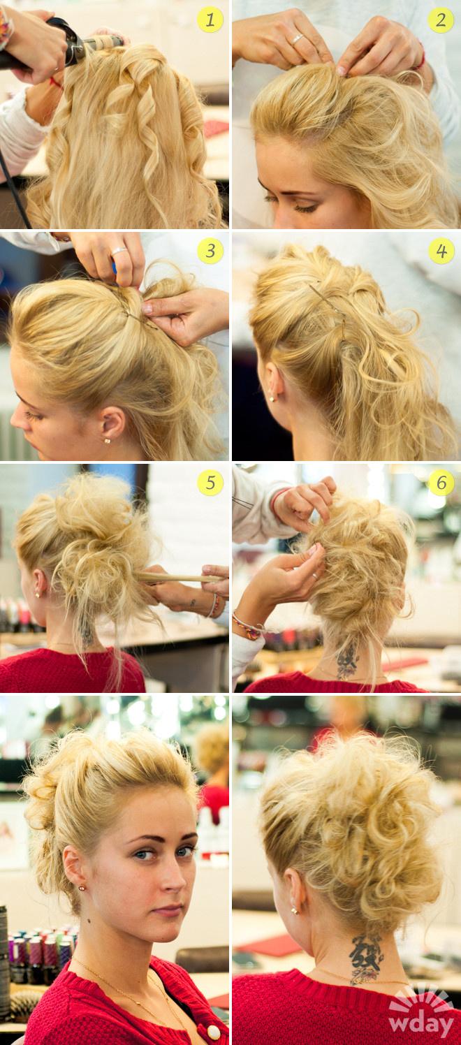 Как сделать объёмную причёску на средние волосы 724