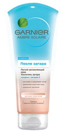 Крем после загара от Garnier. Идеально смягчает и увлажняет кожу, способствует усилению загара. Можно использовать для маскировки плохо загоревших участков.