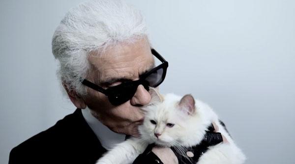 Карл Лагерфельд и его кошка Шупетт