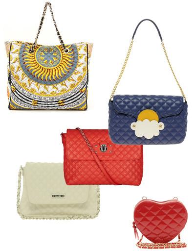 Стеганная сумка D&G, белая сумка Mango, красная сумка Marc Jacobs, синяя сумка Moschino Cheap & Chic, сумка в форме сердца Asos