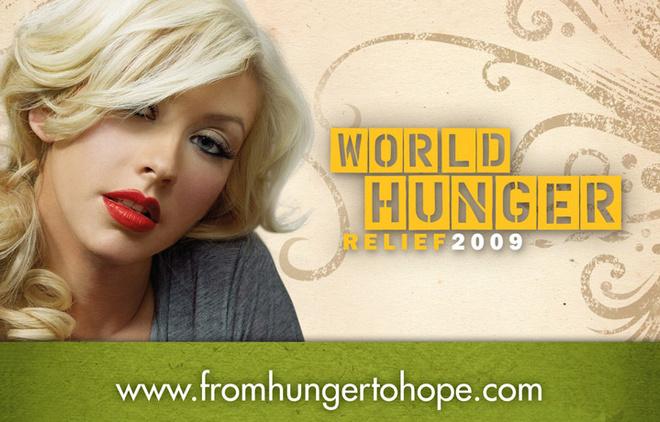 Кристина Агилера на плакате World Hunger Relief.