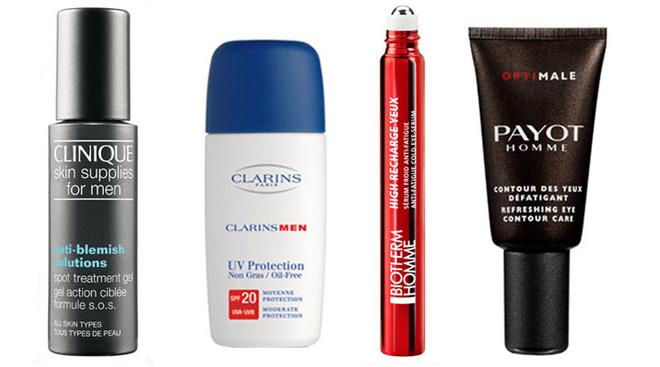 Гель для точечного лечения прыщей, Clinique Skin Supplies for Men Anti-Blemish Solutions Spot Treatment Gel. Легкий, прозрачный гель обеспечивает уникальный четырехсторонний подход к устранению прыщей: отшелушивание, контроль выработки жира, профилактика и снятие раздражения; Легкая эмульсия для мужчин, защищающая от вредных воздействий окружающей среды UV Protection SPF 20 ClarinsMen. Средство легко наносится, обладает высокой устойчивостью и делает кожу мягкой и бархатистой; Охлаждающая сыворотка вокруг глаз против усталости, темных кругов под глазами, High Recharge, Biotherm Homme. Мгновенно впитывается, не оставляя следов. Можно использовать в любое время дня для снятия усталости вокруг глаз, носогубных складок и для сокращения морщинкок на лбу; Крем для контура глаз Refreshing Eye Сontour Care, Payot Homme. Непарфюмированный крем поможет справиться с морщинками вокруг глаз, а также с темными кругами, отеками и мешками под глазами.