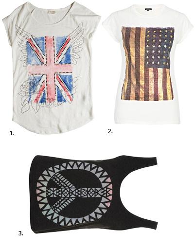 1. Футболка Pull&Bear; 2. футболка River Island; 3. майка Topshop