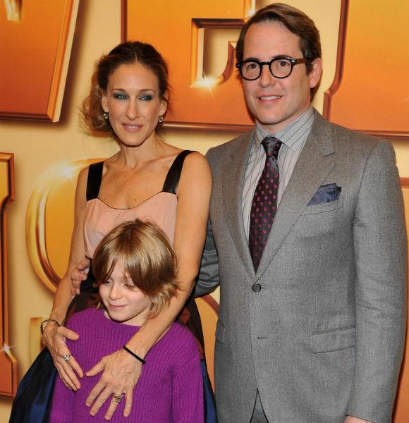 Сара с мужем Мэттью Бродериком и сыном Джеймсом Уилки