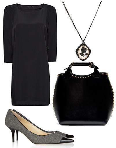 Платье Mango, туфли Jimmy Choo, подвеска Oasis, сумка Zara