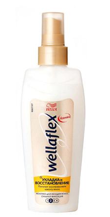 Молочко «Укладка и восстановление» от Wellaflex. Сохраняет увлажненность волос, интенсивно восстанавливает структуру, обеспечивая упругую фиксацию прически.