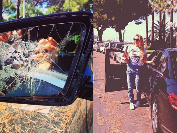Разбитое зеркало на машине испортило настроение Алене Водонаевой.
