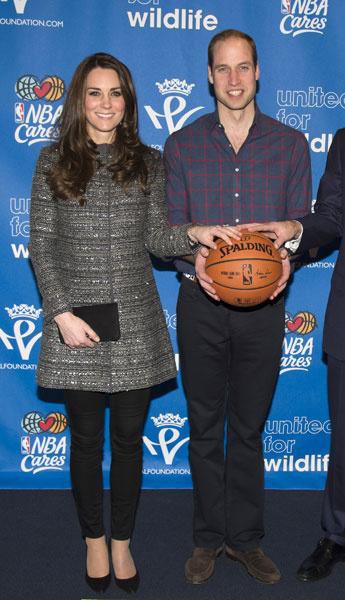 Кейт Миддлтон и принц Уильям на баскетбольном матче