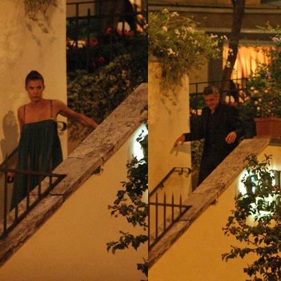 Стараясь обмануть папарацци, Клуни и Каналис порознь покидают ресторан